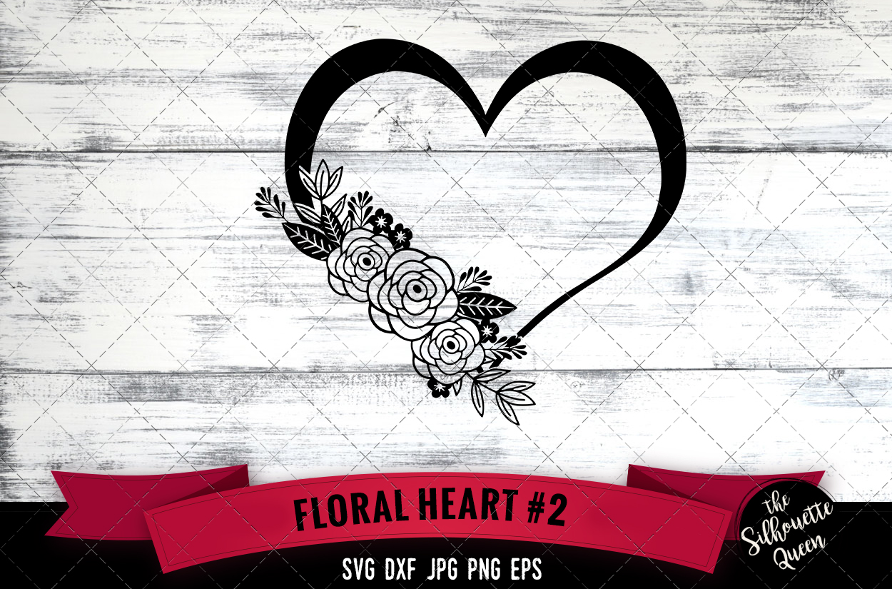 Download Free Floral Heart 2 Graphic By Thesilhouettequeenshop Creative Fabrica for Cricut Explore, Silhouette and other cutting machines.