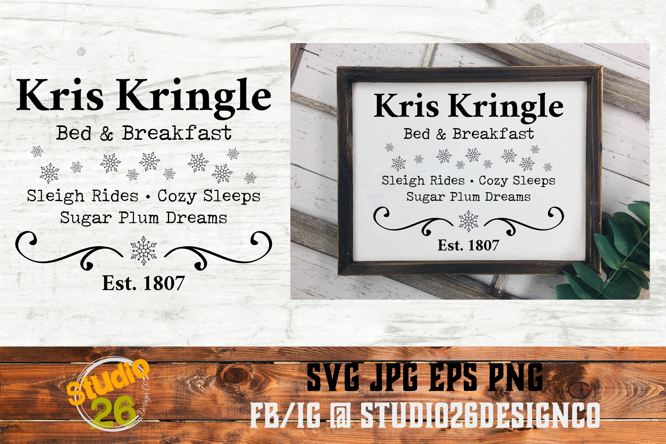 Download Free Kris Kringle Bed Breakfast Christmas Graphic By Studio 26 for Cricut Explore, Silhouette and other cutting machines.