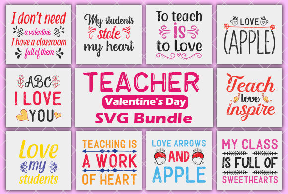 Download Free Teacher Valentine S Day Svg Bundle Graphic By Creativeart for Cricut Explore, Silhouette and other cutting machines.
