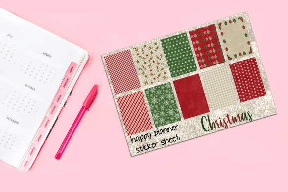 Print on Demand: Christmas Pattern Planner Stickers Graphic Print Templates By AM Digital Designs