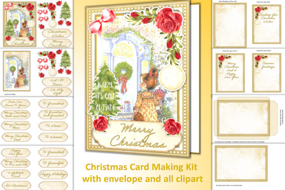 Print on Demand: Christmas Card Making Kit + All Clipart Gráfico Crafts Por The Paper Princess