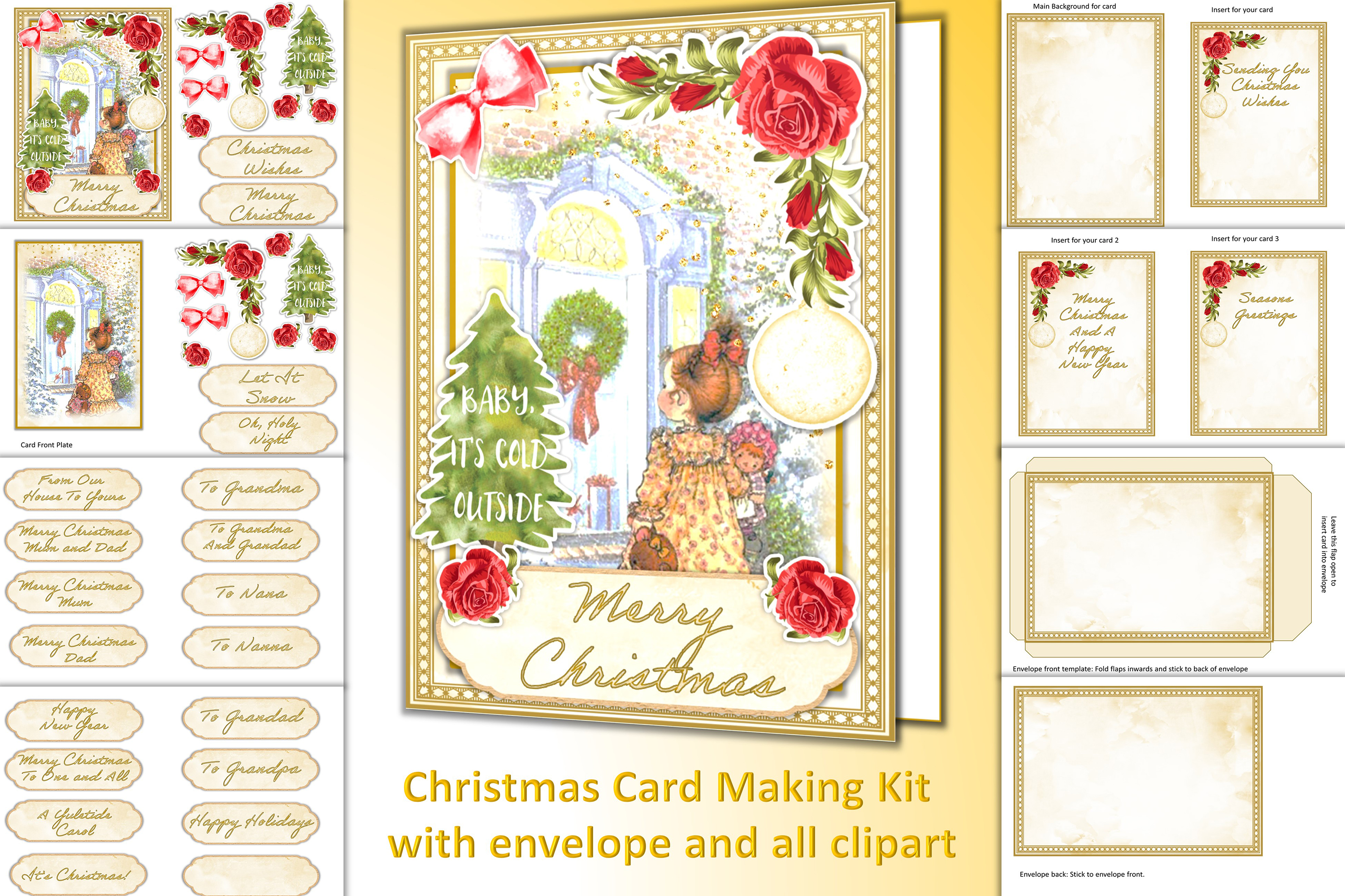 Download Free Christmas Card Making Kit All Clipart Graphic By The Paper for Cricut Explore, Silhouette and other cutting machines.