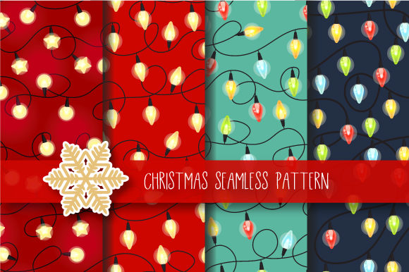 Print on Demand: Christmas Seamless Pattern Garland Gráfico Moldes Por JANNTA