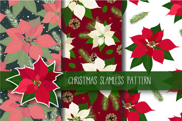 Print on Demand: Christmas Seamless Pattern Poinsettia Gráfico Moldes Por JANNTA