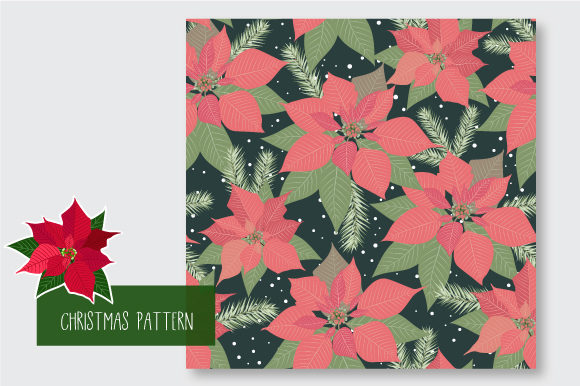 Print on Demand: Christmas Seamless Pattern Poinsettia Graphic Patterns By jann - Image 3