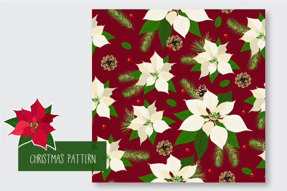 Print on Demand: Christmas Seamless Pattern Poinsettia Graphic Patterns By jann - Image 5