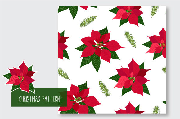 Print on Demand: Christmas Seamless Pattern Poinsettia Graphic Patterns By jann - Image 7