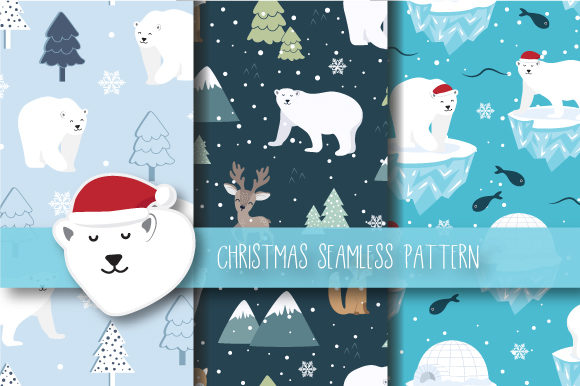 Print on Demand: Christmas Seamless Pattern Polar Bear Gráfico Moldes Por JANNTA