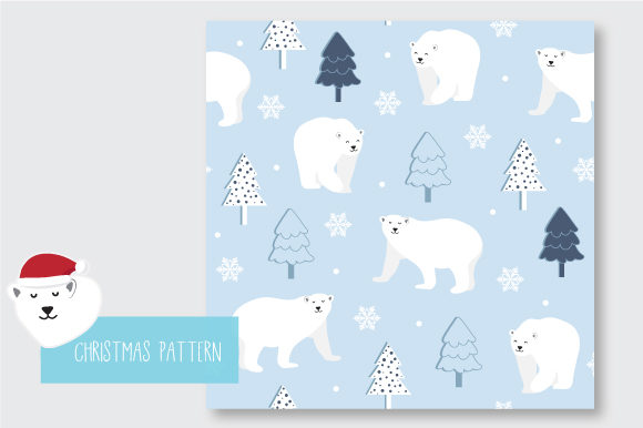 Print on Demand: Christmas Seamless Pattern Polar Bear Graphic Patterns By jann - Image 3
