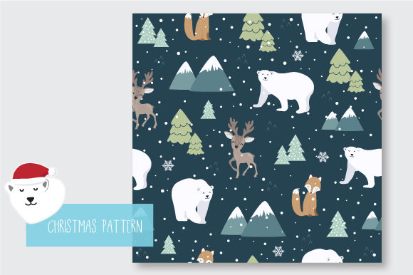 Print on Demand: Christmas Seamless Pattern Polar Bear Graphic Patterns By jann - Image 5
