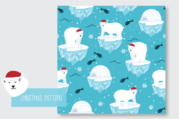 Print on Demand: Christmas Seamless Pattern Polar Bear Graphic Patterns By jann - Image 7