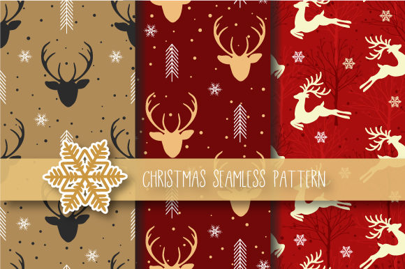 Print on Demand: Christmas Seamless Pattern Reindeer Graphic Patterns By JANNTA