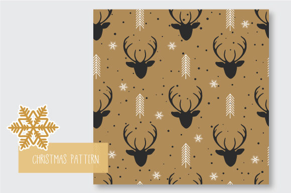 Print on Demand: Christmas Seamless Pattern Reindeer Graphic Patterns By jann - Image 3