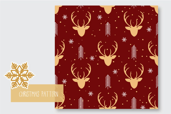 Print on Demand: Christmas Seamless Pattern Reindeer Graphic Patterns By jann - Image 5