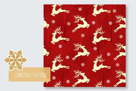 Print on Demand: Christmas Seamless Pattern Reindeer Graphic Patterns By jann - Image 7
