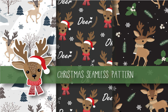 Print on Demand: Christmas Seamless Pattern Reindeer Gráfico Moldes Por JANNTA