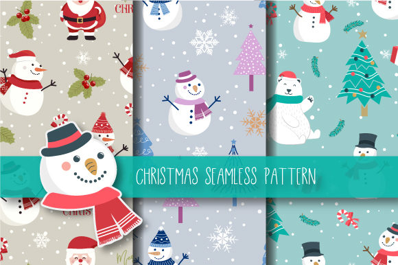 Print on Demand: Christmas Seamless Pattern Snowman Gráfico Moldes Por JANNTA