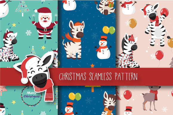 Print on Demand: Christmas Seamless Pattern Zebra Graphic Patterns By JANNTA