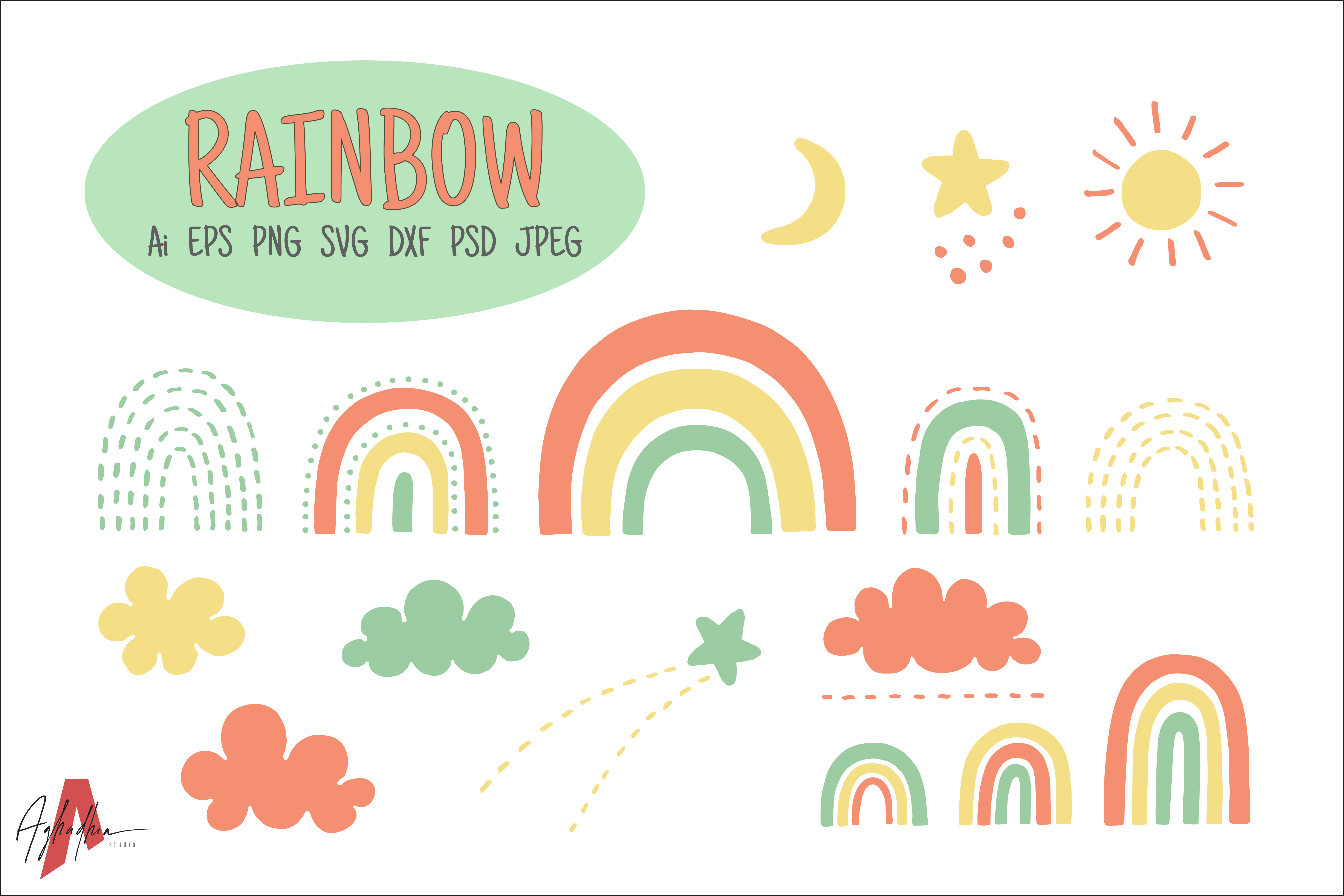Download Free Doodles Rainbow Set Graphic By Aghadhia Studio Creative Fabrica for Cricut Explore, Silhouette and other cutting machines.