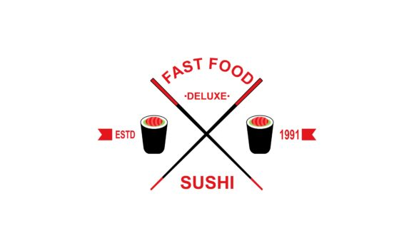 Download Free Fast Food Logo Design Sushi Sign Vector Graphic By Deemka Studio for Cricut Explore, Silhouette and other cutting machines.