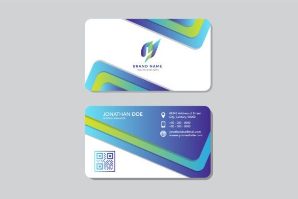 Download Free Geometric Business Card Blue Green Graphic By Noory Shopper for Cricut Explore, Silhouette and other cutting machines.