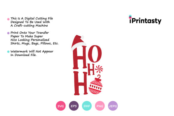 Print on Demand: Ho Ho Ho Funny Christmas Quotes Graphic Crafts By iprintasty - Image 2
