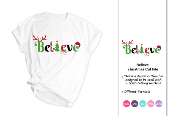 Print on Demand: Believe Christmas Quotes Gráfico Crafts Por iprintasty