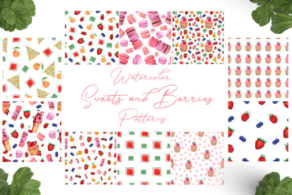 Watercolor Sweets and Berries Pattern Graphic Patterns By Maya Navits
