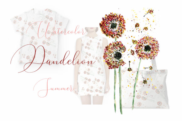 Watercolor Dandelion Summer Graphic Illustrations By Maya Navits