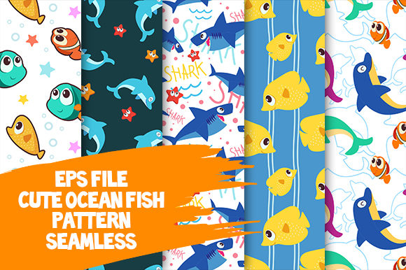 Cute Ocean Fish Seamless Pattern Graphic Patterns By donikudjo