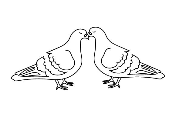 Two Pigeons Kissing (line Art Style) Animals Craft Cut File By Creative Fabrica Crafts