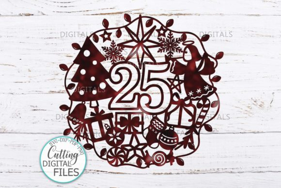 25 December Ornament Cut Template Graphic Crafts By Cornelia - Image 1