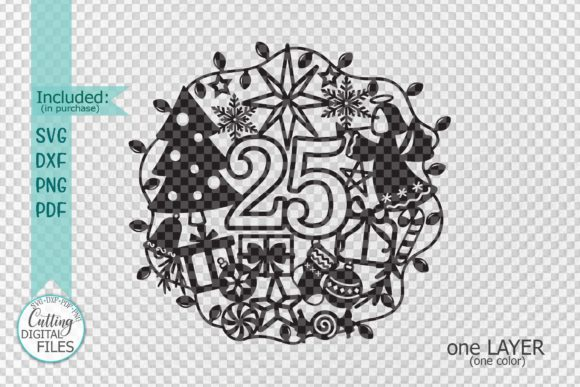 25 December Ornament Cut Template Graphic Crafts By Cornelia - Image 2