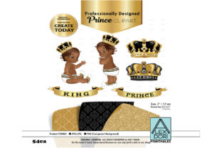 Print on Demand: Black and Gold Baby Prince King Royal Graphic Illustrations By adlydigital