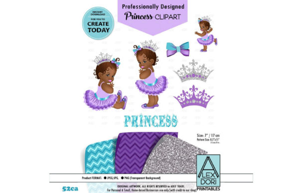 Print on Demand: African Baby Princess Purple Theme Graphic Illustrations By adlydigital