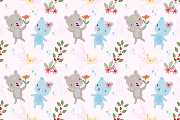 Cute Bear with Flower Seamless Pattern. Graphic Patterns By ranger262
