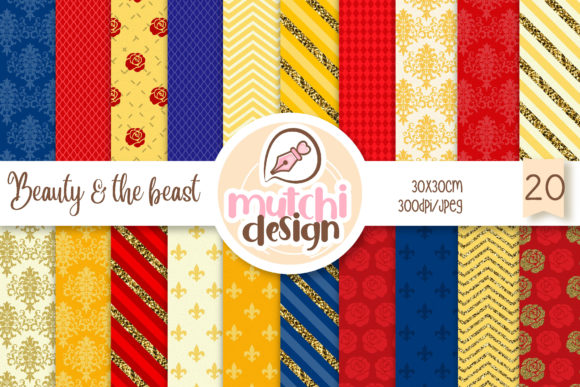Beauty & the Beast Digital Papers Graphic Backgrounds By Mutchi Design