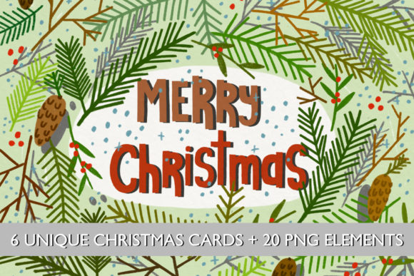 Christmas Cards//20 Elements Graphic Print Templates By Masha Artifex