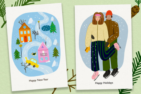 Christmas Cards//20 Elements Graphic Print Templates By Masha Artifex - Image 2