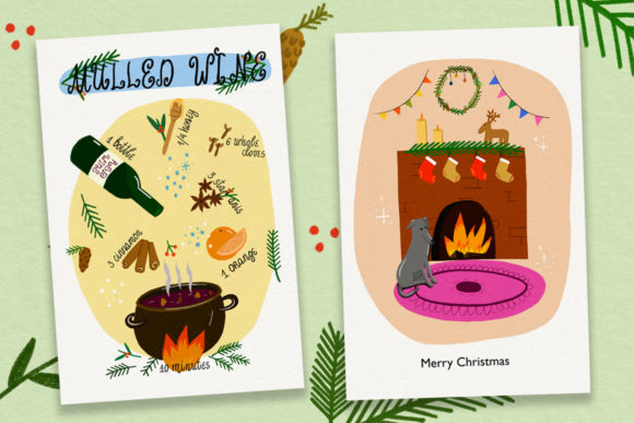 Christmas Cards//20 Elements Graphic Print Templates By Masha Artifex - Image 3