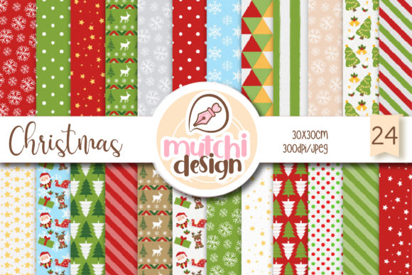Christmas Cute Digital Papers Graphic Backgrounds By Mutchi Design - Image 1