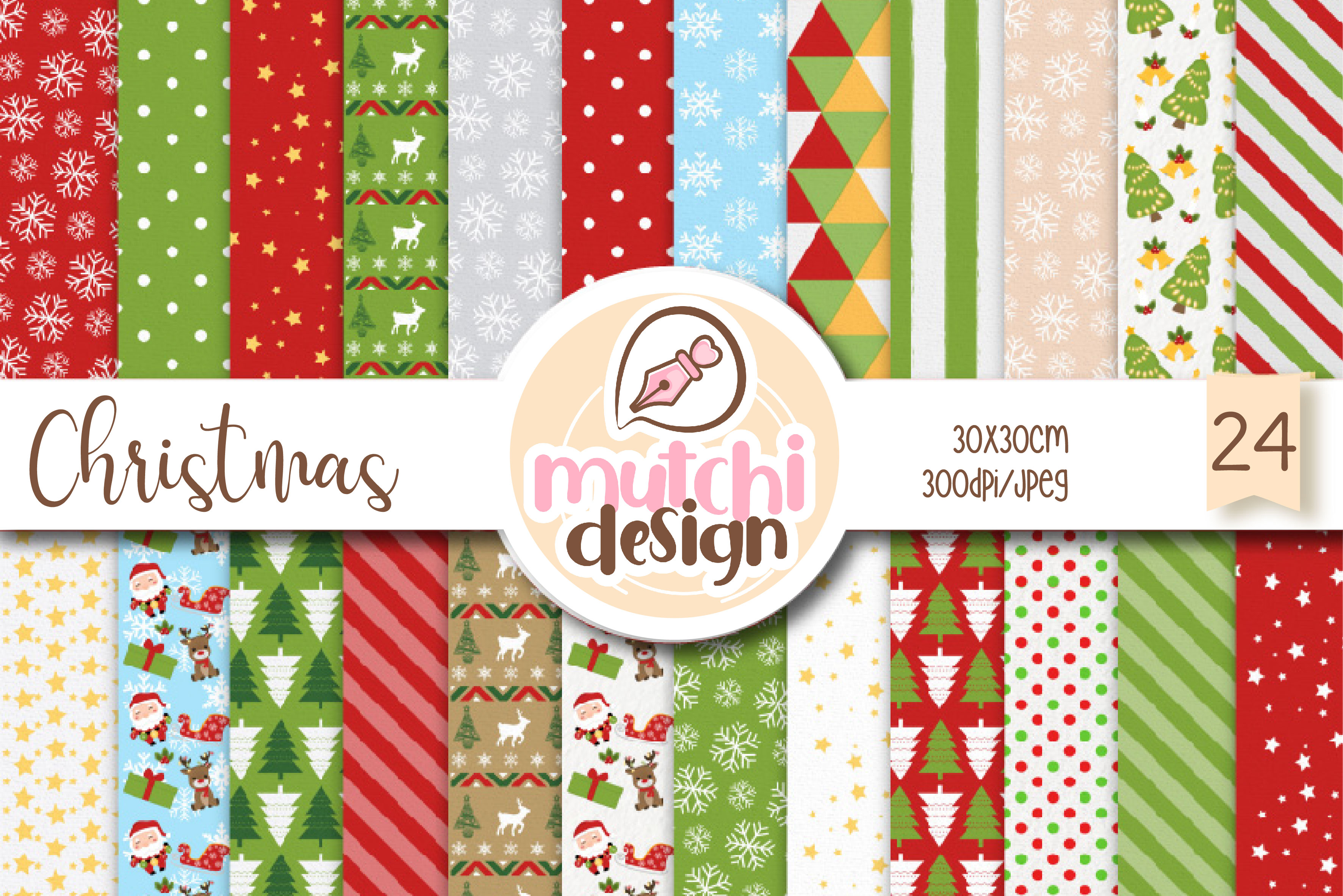 Download Free Christmas Cute Digital Papers Graphic By Mutchi Design for Cricut Explore, Silhouette and other cutting machines.