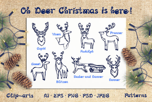 Christmas Deer, Patterns and Cards Graphic Illustrations By AV Design
