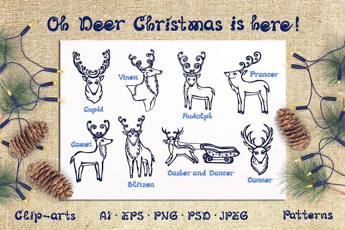 Download Free Christmas Deer Patterns And Cards Graphic By Av Design for Cricut Explore, Silhouette and other cutting machines.