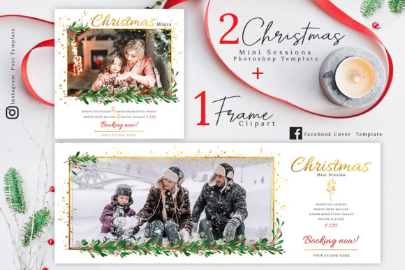 Print on Demand: Christmas Mini Session Template 02 Graphic Illustrations By 3Motional