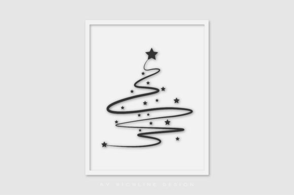 Christmas Tree Line Art Graphic Illustrations By RICHLINE DESIGN - Image 1