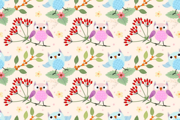 Cute Owl on Branch Seamless Pattern. Graphic Patterns By ranger262