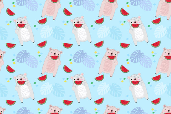 Download Free Cute Bear Eating Water Melon Pattern Graphic By Ranger262 for Cricut Explore, Silhouette and other cutting machines.