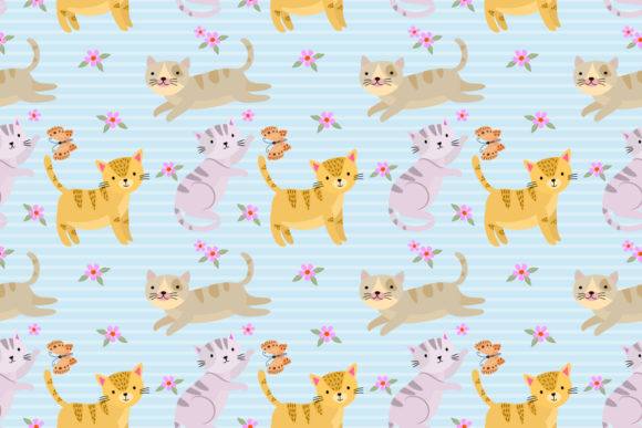 Seamless Pattern with Cat and Butterfly. Graphic Patterns By ranger262