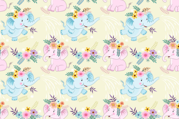 Cute Cartoon Elephant and Flowers Graphic Patterns By ranger262